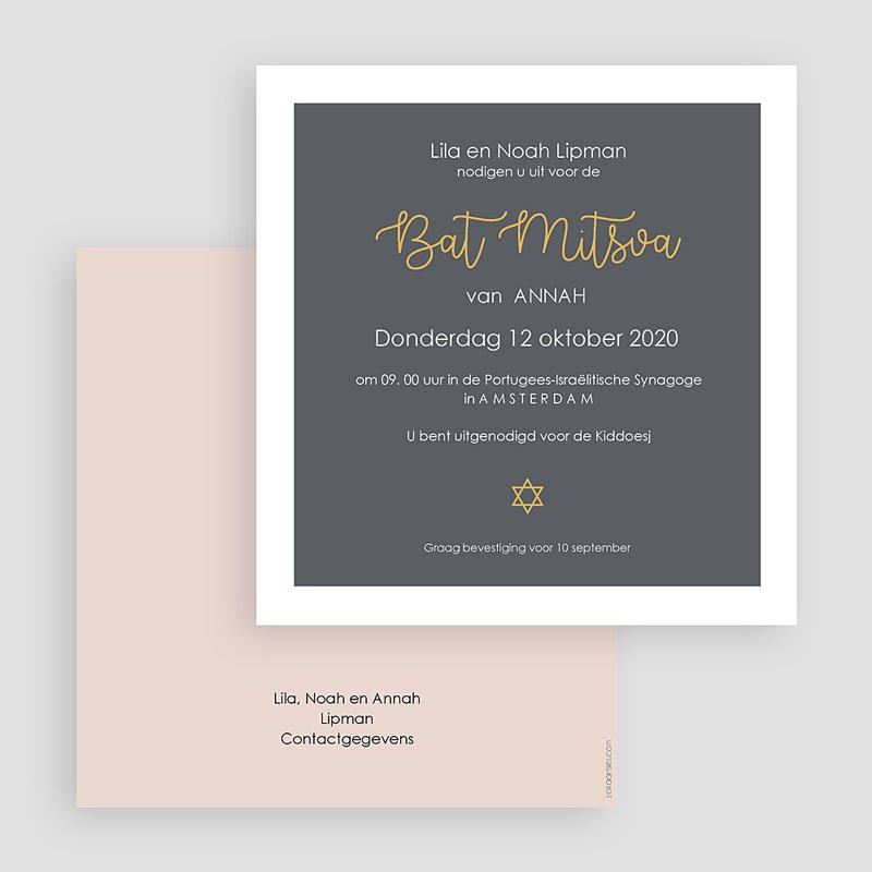Uitnodigingen Bar Mitzvah Grijs & Pastel gratuit