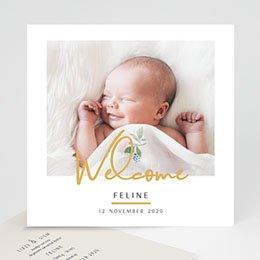 Geboortekaartje meisje Welcome in Goud