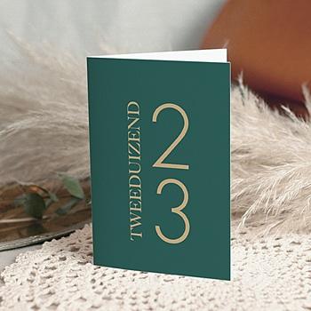 Professionele wenskaarten - Kerstgroen Gouden cijfers & letters - 0