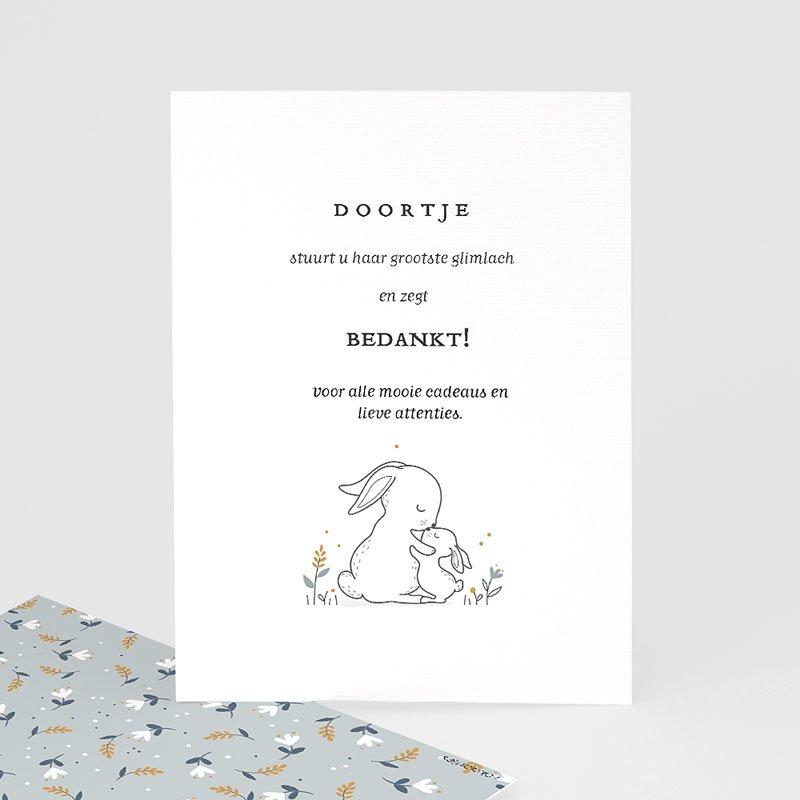 Bedankkaartje geboorte dochter Knuffelkonijntje