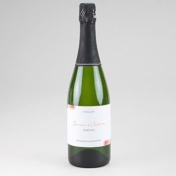 Etiket voor Champagnefles Pioenrozen Chique