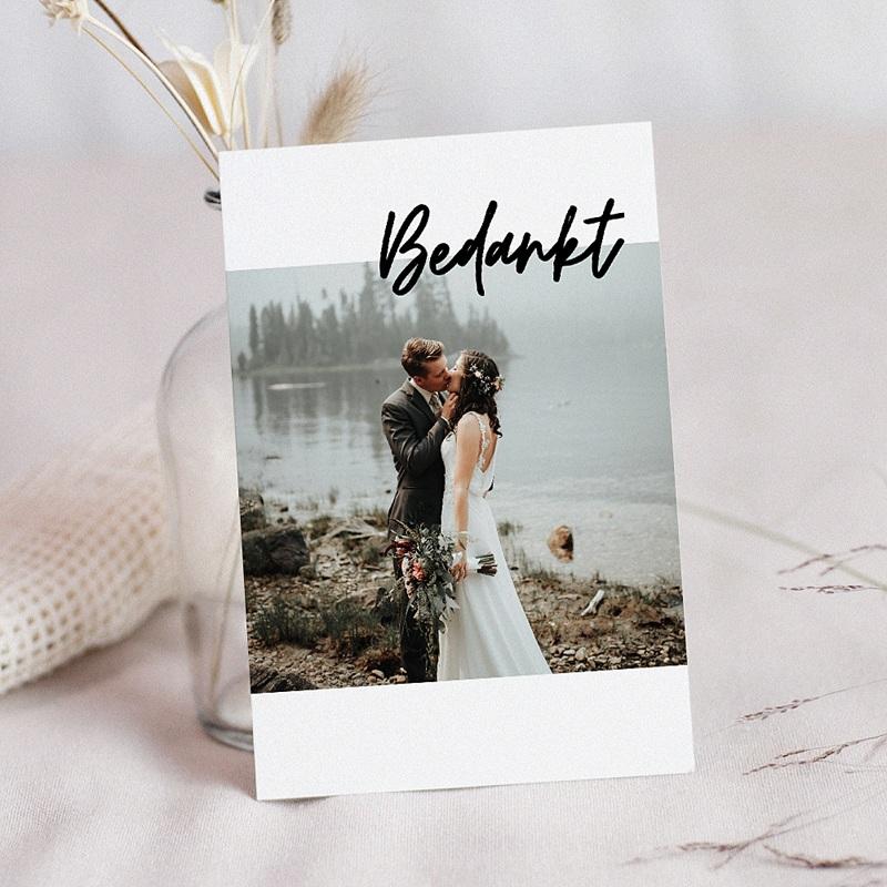 Bedankkaarten huwelijk met foto - Mastic Majestic 70557 thumb