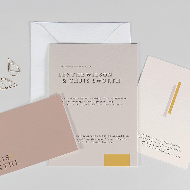 Trouwkaarten Minimalistisch - Blush & Gold 72338 thumb
