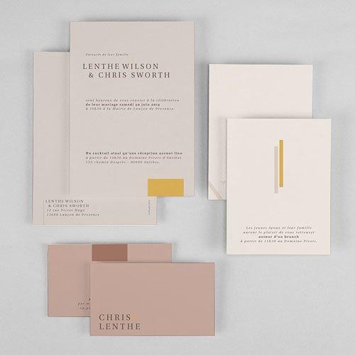 Trouwkaarten Minimalistisch - Blush & Gold 72340 thumb
