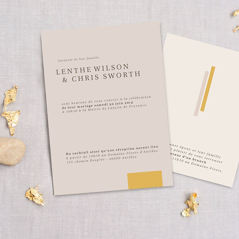 Trouwkaarten Minimalistisch - Blush & Gold 72341 thumb