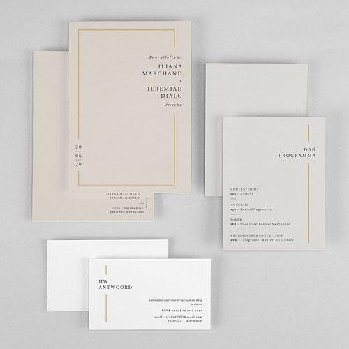 Trouwkaarten Minimalistisch - Golden Frame 72548 thumb