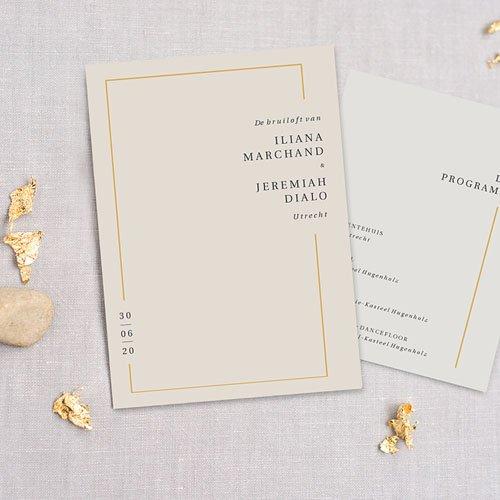 Trouwkaarten Minimalistisch - Golden Frame 72549 thumb