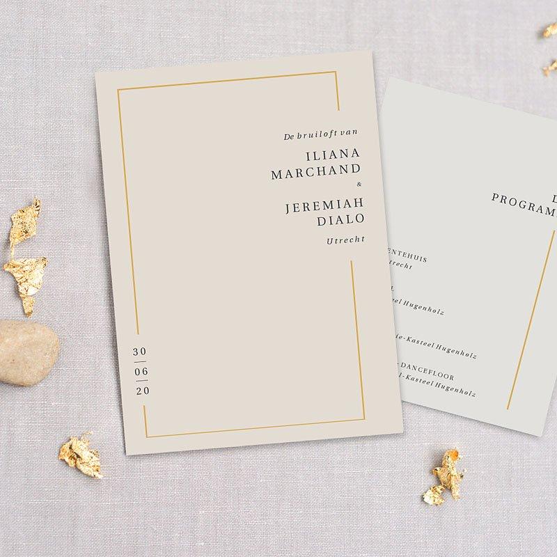 Trouwkaarten Minimalistisch - Golden Frame 72550 thumb