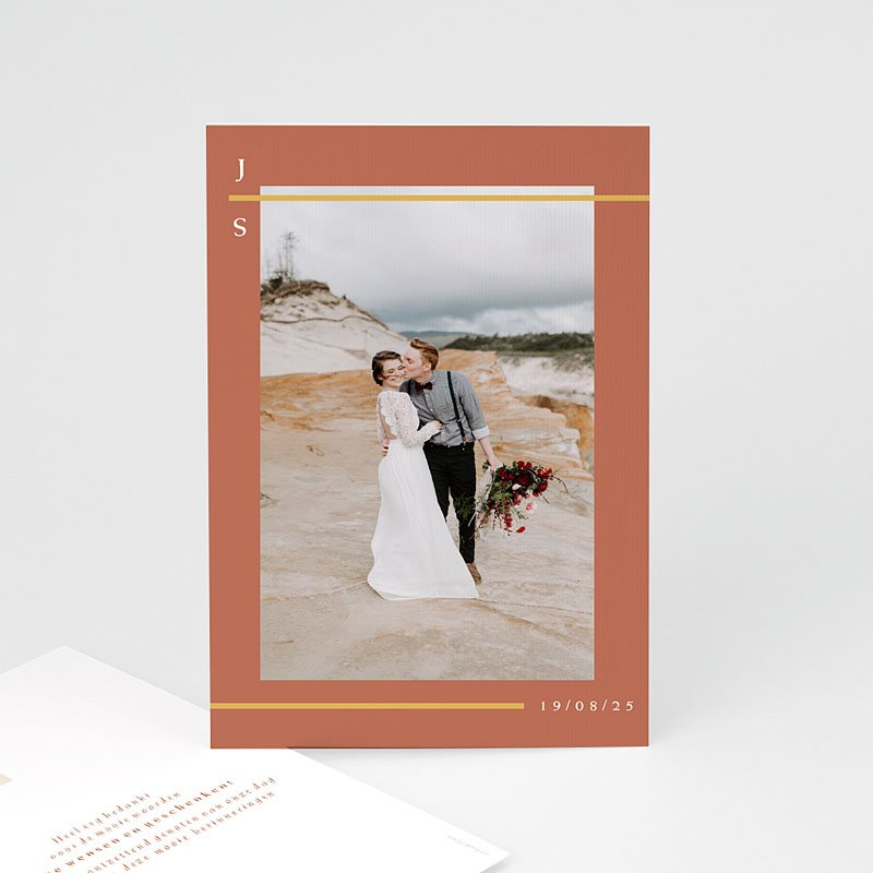 Bedankkaart huwelijk boheme - Terracotta 72641 thumb