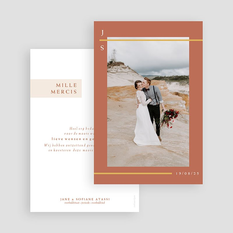 Bedankkaart huwelijk boheme - Terracotta 72643 thumb