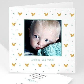 Uitnodiging doopsel vlinder - Gouden Vlindertjes - 0