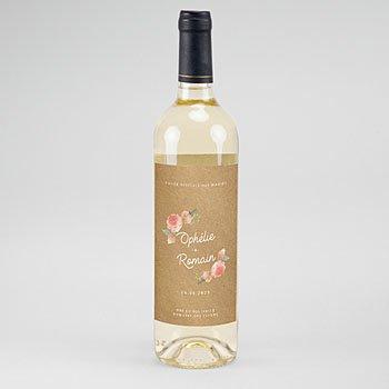 Etiket Voor Wijnfles - Roze bloemenkrans - 0