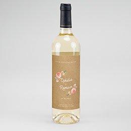 Etiket Voor Wijnfles Roze bloemenkrans