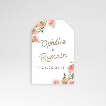 Etiket huwelijk - Roze bloemenkrans - 0