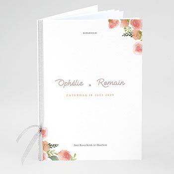Boekomslag voor kerkboekje - Roze bloemenkrans - 0
