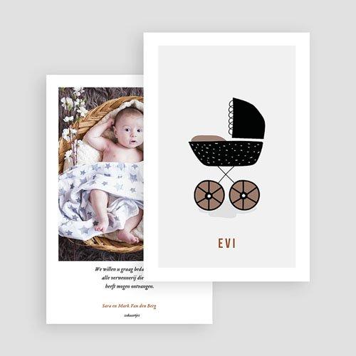 Bedankkaartje geboorte dochter - Retro kinderwagen 73009 thumb