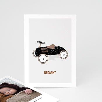 Bedankkaartje geboorte zoon Pedaal auto