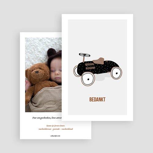 Bedankkaartje geboorte zoon Pedaal auto gratuit