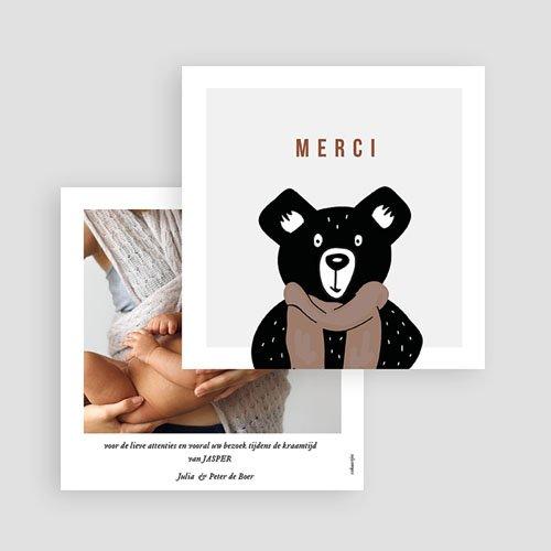 Bedankkaarten geboorte dierenmotief Teddybeer gratuit