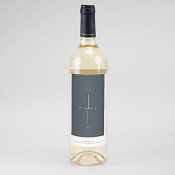 Etiket Voor Wijnfles - Mineraalblauw - 0
