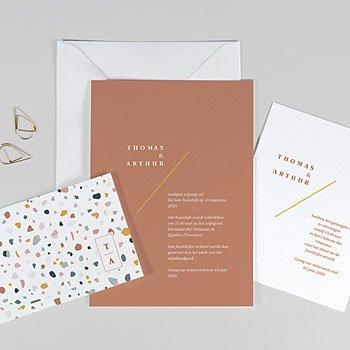 Creatieve trouwkaarten - Terrazzo Goud - 0