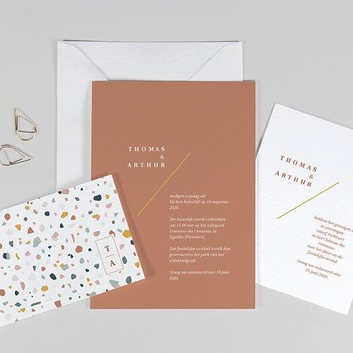 Creatieve trouwkaarten - Terrazzo Goud 74036 thumb