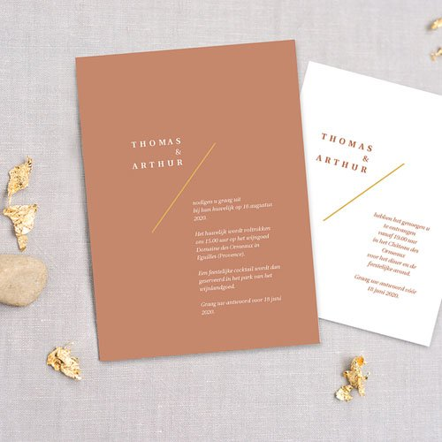 Creatieve trouwkaarten - Terrazzo Goud 74039 thumb