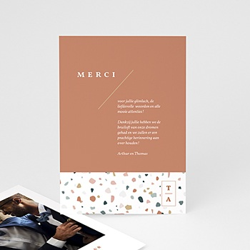 Creatieve bedankkaartjes huwelijk Terrazzo Goud