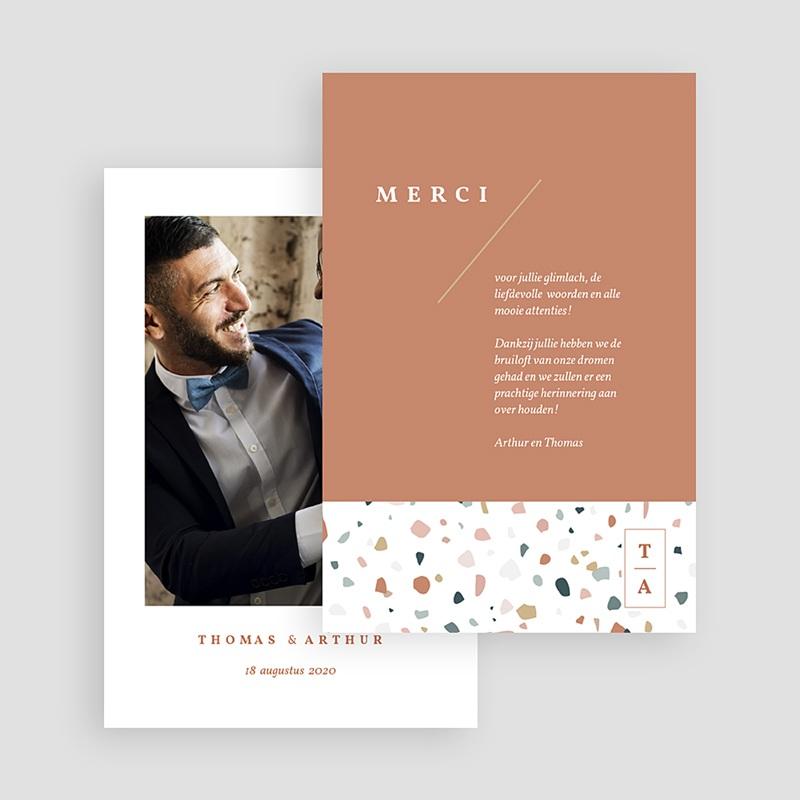 Creatieve Bedankkaartjes Bruiloft Terrazzo Goud gratuit