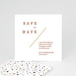 Save the date kaartjes Terrazzo Goud