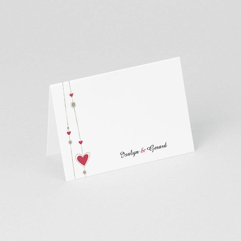 Personaliseerbare plaatskaartjes huwelijk Hartgordijntje gratuit