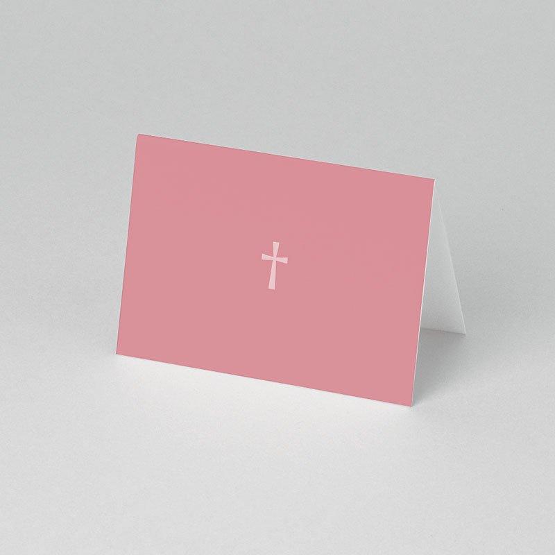 Plaatskaartjes doopviering - Roze rozenkrans en kruis 75840 thumb