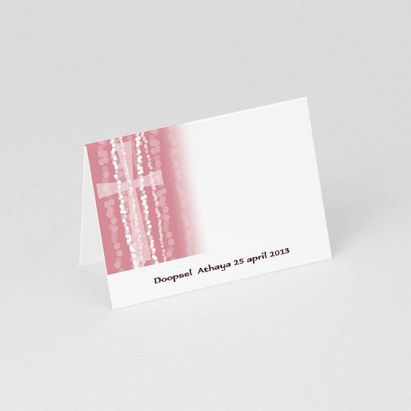 Plaatskaartjes doopviering - Roze rozenkrans en kruis 75841 thumb