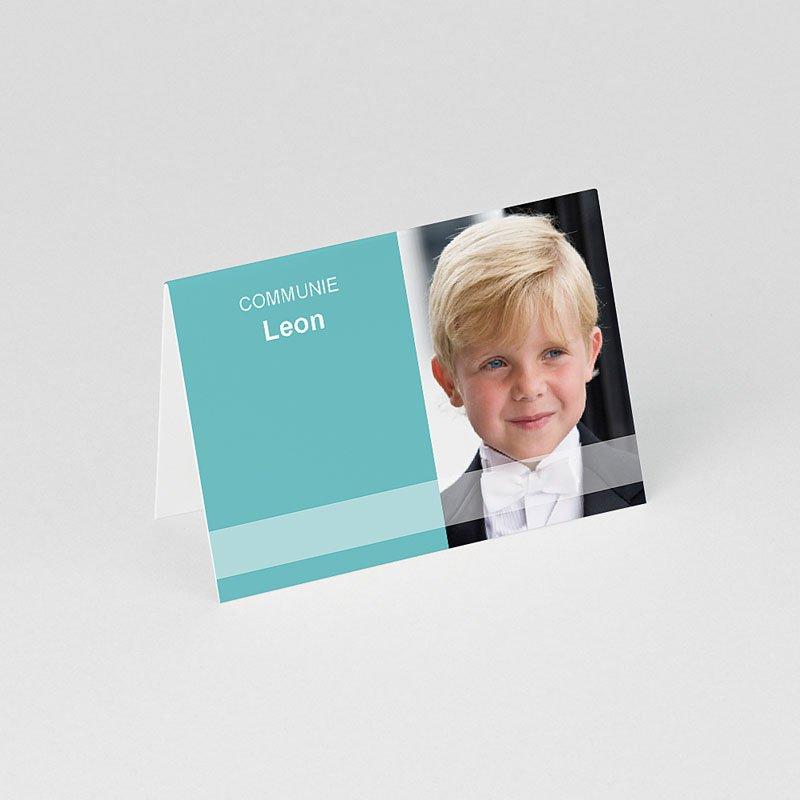 Tafelkaartjes Communie Turquoise en bruidsuiker gratuit