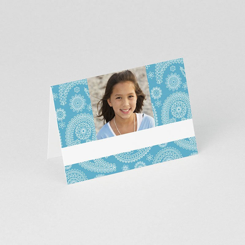 Tafelkaartjes Communie Paisley blauw gratuit