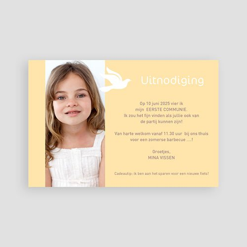 Uitnodiging communie meisje Eerste communie pas cher