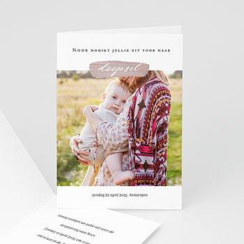 Doopkaartjes met foto - Roze penseelstreek - 0