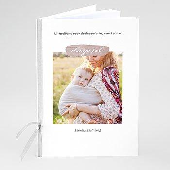 Boekomslag voor doopboekjes - Roze penseelstreek - 0