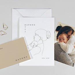 Geboortekaartje meisje Moeder en kind