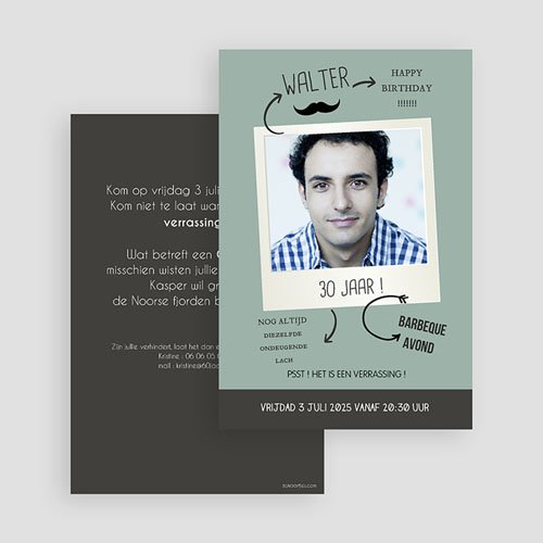 Meerderjarig Uitnodigingen Verjaardag Polaroid party gratuit