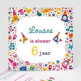Verjaardagskaarten meisjes 6 ans Vive la fête