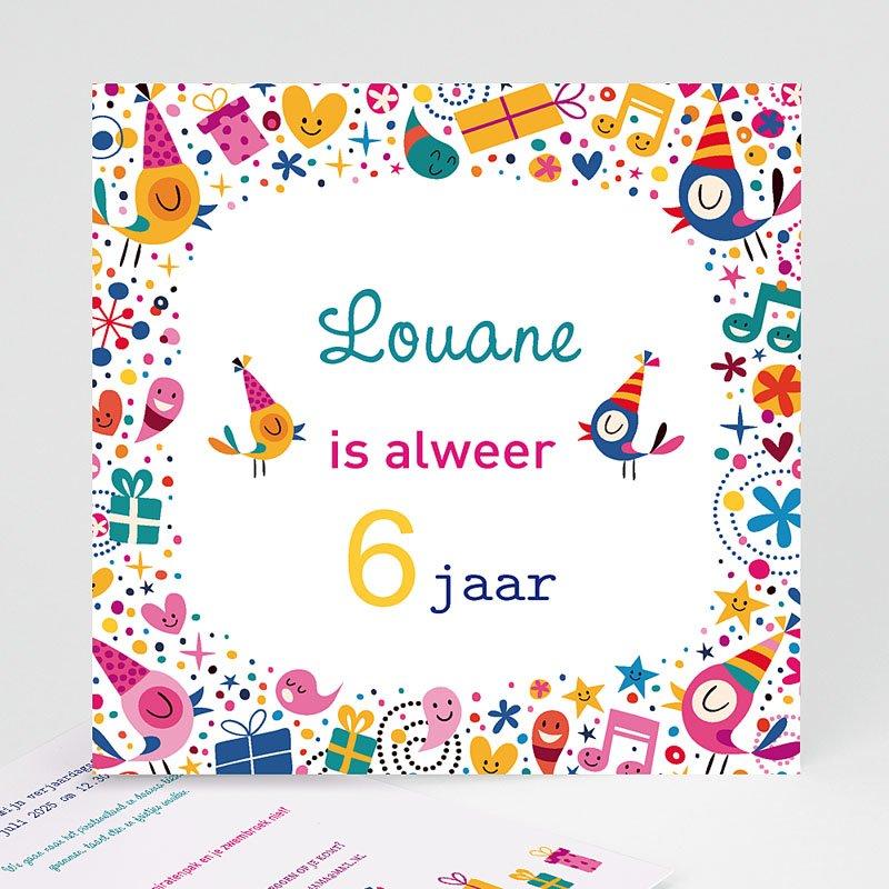 Uitnodigingen Verjaardag Meisje 6 ans Vive la fête