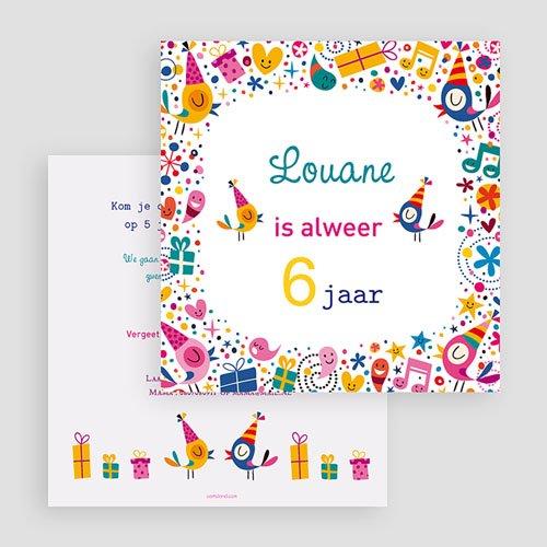 Uitnodigingen Verjaardag Meisje 6 ans Vive la fête gratuit