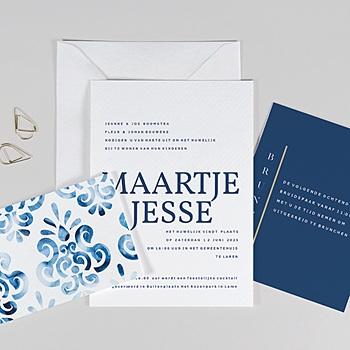 Trouwkaarten Blauw Portugees blauw