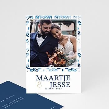 Bedankkaarten huwelijk met foto Portugees blauw