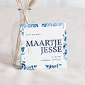 Save The Date Kaartjes Bruiloft Portugees blauw, 10 x 10 cm