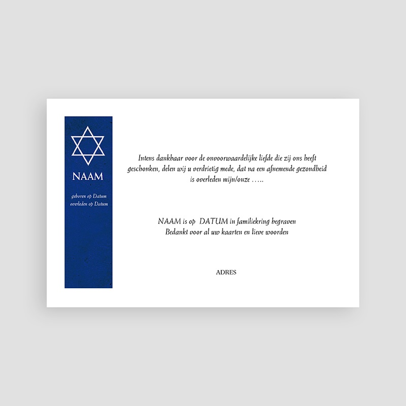 Joods Bedankkaartjes Overlijden Davidster, japans papier pas cher