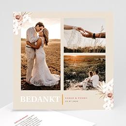 Bedankkaart huwelijk boheme Boheems vierkant 3 Foto's