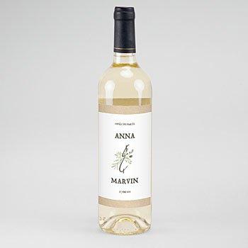Etiket Voor Wijnfles Bladversiering