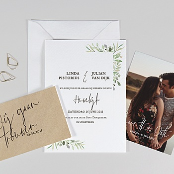 Landelijke trouwkaarten Bladversiering